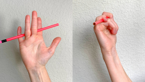 Image shows how using a pencil can help increase small finger flexion