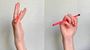 Image shows how using a pencil can help increase small finger PIP extension
